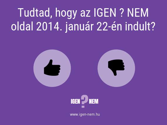 Tudtad, hogy az IGEN ? NEM oldal 2014. január 22-én indult? IGEN? NEM? | igen-nem.hu